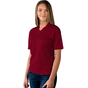 LADIES SOLID WICKING V-NECK  -  BURGUNDY EXTRA LARGE SOLID