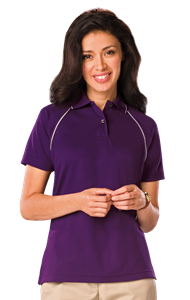 LADIES WICKING PIPED POLO   -  PURPLE EXTRA LARGE SOLID