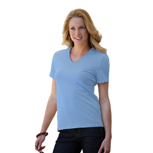 LADIES MOISTURE WICKING T-SHIRT CO#  -  LIGHT BLUE MEDIUM SOLID
