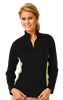 LADIES  WICKING 1/2 ZIP BLOCKED   -  BLACK- VEGAS GOLD EXTRA LARGE TRIM VEGAS GOLD