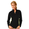 LADIES  WICKING 1/2 ZIP BLOCKED   -  BLACK- VEGAS GOLD SMALL TRIM VEGAS GOLD