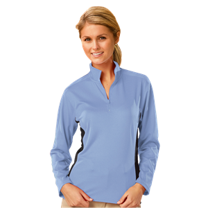 LADIES  WICKING 1/2 ZIP BLOCKED CO#  -  LIGHT BLUE SMALL TRIM GRAPHITE