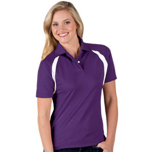 LADIES WICKING CONTRAST INSERT   -  PURPLE SMALL TRIM WHITE