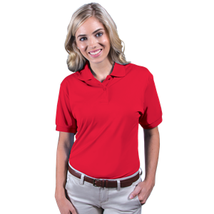LADIES WICKING SOLID SNAG RESIST POLO   -  RED EXTRA LARGE SOLID