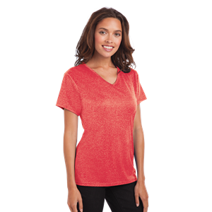 LADIES HEATHERED WICKING TEE  -  HEATHER RED SMALL SOLID