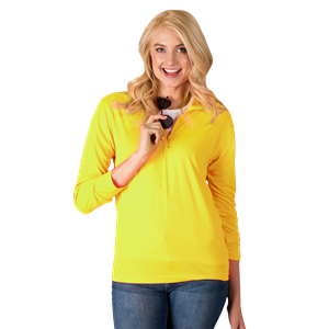 LADIES WICKING SOLID 1/4 ZIP LS PULLOVER  -  OPTIC YELLOW SMALL SOLID
