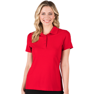 LADIES ULTRA LUX POLO  -  RED SMALL SOLID