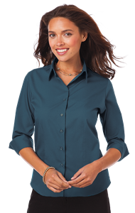 LADIES 3/4 SLEEVE EASY CARE POPLIN WITH MATCHING BUTTONS  -  TEAL EXTRA LARGE SOLID