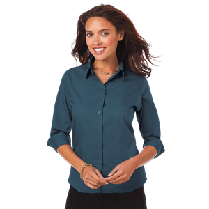 LADIES 3/4 SLEEVE EASY CARE POPLIN WITH MATCHING BUTTONS  -  TEAL SMALL SOLID