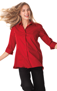 LADIES 3/4 SLEEVE EASY CARE POPLIN SWING BLOUSE/MATCHING BUTTONS   -  RED EXTRA LARGE SOLID