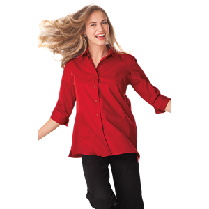 LADIES 3/4 SLEEVE EASY CARE POPLIN SWING BLOUSE/MATCHING BUTTONS   -  RED SMALL SOLID