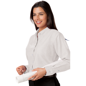 LADIES L/S POPLIN BISTRO SHIRT  -  WHITE EXTRA LARGE SOLID