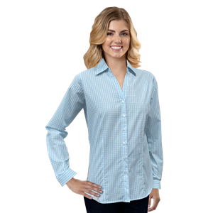 LADIES L/S UNTUCKED PLAID NO POCKET AQUA SMALL SOLID