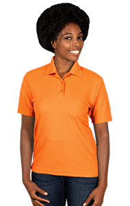 LADIES VALUE MOISTURE WICKING S/S POLO -  SAFETY ORANGE EXTRA LARGE SOLID