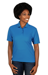 LADIES VALUE MOISTURE WICKING S/S POLO  -  TURQUOISE SMALL SOLID