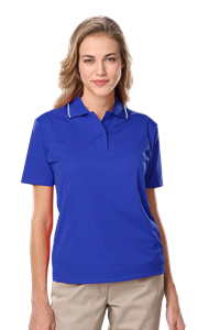 LADIES WICKING PIPED POLO  -  ROYAL EXTRA LARGE SOLID