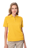 LADIES WICKING PIPED POLO  -  YELLOW EXTRA LARGE SOLID