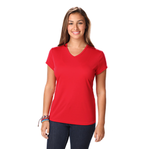 LADIES VALUE WICKING V-NECK T  -  RED EXTRA SMALL SOLID
