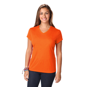 LADIES SOLID WICKING T  -  SAFETY ORANGE EXTRA SMALL SOLID