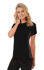 LADIES COLORBLOCK WICKING TEE  -  BLACK EXTRA LARGE SOLID