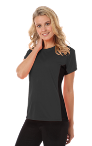 LADIES COLORBLOCK WICKING TEE  -  GRAPHITE EXTRA LARGE SOLID