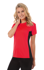 LADIES COLORBLOCK WICKING TEE  -  RED EXTRA LARGE SOLID