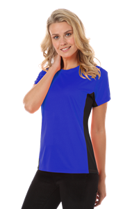 LADIES COLORBLOCK WICKING TEE  -  ROYAL EXTRA LARGE SOLID
