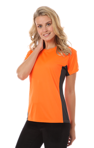 LADIES COLORBLOCK WICKING TEE  -  SAFETY ORANGE EXTRA LARGE SOLID