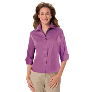 LADIES 3/4 SLEEVE PEACHED FINE LINE TWILL SHIRT CO#  -  MULBERRY 3 EXTRA LARGE SOLID
