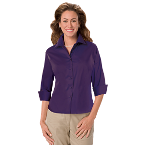LADIES 3/4 SLEEVE PEACHED FINE LINE TWILL SHIRT  -  PURPLE EXTRA LARGE SOLID