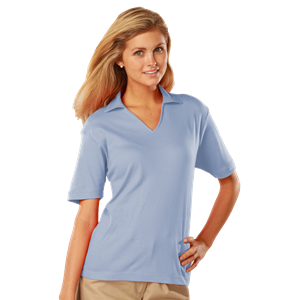 LADIES SHORT SLEEVES SUPERBLEND PIQUE SELF COLLAR WS#   -  LIGHT BLUE EXTRA LARGE SOLID
