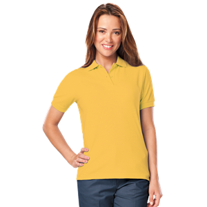 LADIE'S S/S BUDGET PIQUE POLO CO#  -  YELLOW MEDIUM SOLID