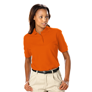 LADIES VALUE SOFT TOUCH PIQUE POLO  -  ORANGE EXTRA LARGE SOLID