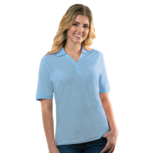 LADIES SOFT TOUCH S/S Y-PLACKET  POLO  -  LIGHT BLUE EXTRA LARGE SOLID