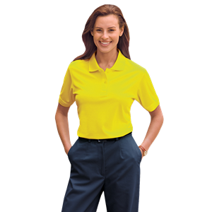 LADIES HIGH VISIBILITY PIQUE POLO  -  YELLOW EXTRA LARGE SOLID