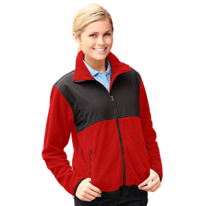 LADIES 2 TONE POLAR FLEECE/NYLON JACKET CO#  -  RED EXTRA LARGE TRIM BLACK