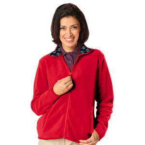YOUR LOGO HERE LADIES POLAR FLEECE  FULL ZIP JACKET RED EXTRA LARGE SOLID