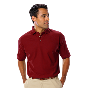 MENS SHORT SLEEVE TEFLON TREATED PIQUES NO POCKET  -  BURGUNDY EXTRA SMALL SOLID