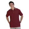 MENS SHORT SLEEVE TIPPED COLLAR & CUFF PIQUES  -  BURGUNDY EXTRA LARGE TIPPED WHITE