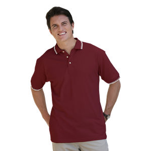 MENS SHORT SLEEVE TIPPED COLLAR & CUFF PIQUES  -  BURGUNDY 5 EXTRA LARGE TIPPED WHITE