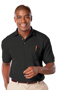 MENS SHORT SLEEVE SUPERBLEND PIQUE WITH POCKET  -  BLACK EXTRA LARGE SOLID