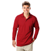 MENS LONG SLEEVE SUPERBLEND PIQUE WITH POCKET  -  RED EXTRA LARGE SOLID