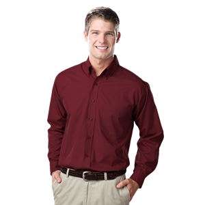 MEN'S L/S LIGHT WEIGHT POPLIN SHIRT  -  BURGUNDY EXTRA LARGE SOLID