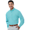 MENS LONG SLEEVE TALL EASY CARE POPLIN  -  AQUA EXTRA LARGE TALL SOLID