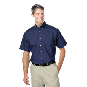 MENS  SHORT SLEEVE TALL EASY CARE POPLIN  -  NAVY EXTRA LARGE TALL SOLID