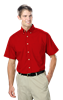 MENS  SHORT SLEEVE TALL EASY CARE POPLIN  -  RED EXTRA LARGE TALL SOLID
