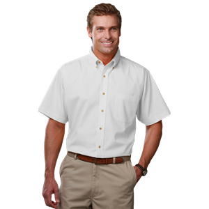 MENS SHORT SLEEVE TEFLON TWILL  -  WHITE EXTRA SMALL SOLID
