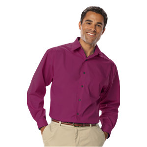 MENS LONG SLEEVE EASY CARE STRETCH POPLIN CO#  -  BERRY SMALL SOLID
