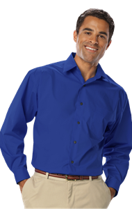 MENS LONG SLEEVE EASY CARE STRETCH POPLIN  -  ROYAL EXTRA LARGE SOLID