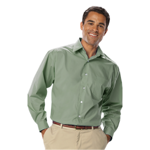 MENS LONG SLEEVE EASY CARE STRETCH POPLIN  -  SAGE SMALL SOLID